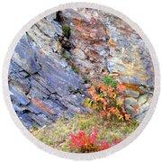 Autumn And Rocks Vertical Round Beach Towel