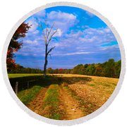 Autumn And The Tree Round Beach Towel