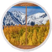 Autumn Aspen Tree Forest Barn Wood Picture Window Frame View Round Beach Towel by James BO  Insogna