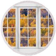 Autumn Aspen Trees White Picture Window View Round Beach Towel