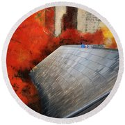 Autumn At Chicago Millennium Park Bp Bridge Mixed Media 03 Round Beach Towel