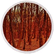 Autumn At Formby Woods  Round Beach Towel