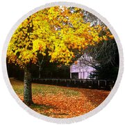 Autumn At Old Mill Round Beach Towel