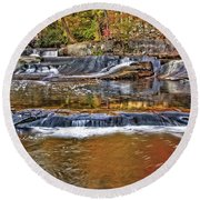 Autumn At Olmsted Falls Round Beach Towel