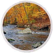 Autumn At The Black River Round Beach Towel