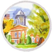 Autumn At The Courthouse Round Beach Towel