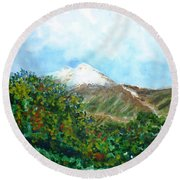 Autumn At The Foot Of Mount Elbrus Round Beach Towel