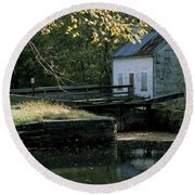 Autumn At The Lockhouse Round Beach Towel