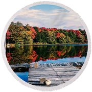 Autumn At The Pond Round Beach Towel
