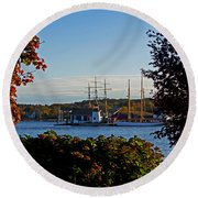 Autumn At The Seaport Round Beach Towel