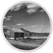Autumn Barn Monochrome Round Beach Towel