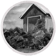 Autumn Barn - Upclose Cropped - Black And White Round Beach Towel