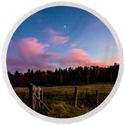 Autumn Barnyard Sunset Round Beach Towel