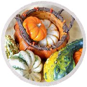 Autumn Basketful Round Beach Towel