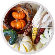 Autumn Basketful With Corn Round Beach Towel
