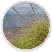 Autumn Beach Grasses Round Beach Towel