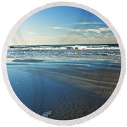 Relaxing Autumn Beach  Round Beach Towel