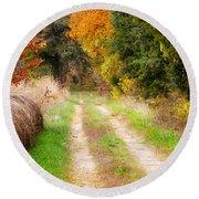 Autumn Beauty On Rural Dirt Road Round Beach Towel