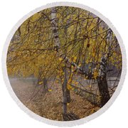 Autumn Bench Round Beach Towel