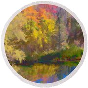 Autumn Beside The Pond Round Beach Towel