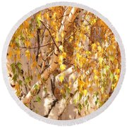 Autumn Birch Leaves Round Beach Towel