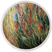 Autumn Bloom Round Beach Towel