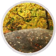 Autumn Boulder And Leaves Round Beach Towel