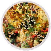 Autumn Bounty - Abstract Expressionism Round Beach Towel