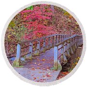 Autumn Bridge Round Beach Towel