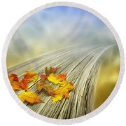 Autumn Bridge Round Beach Towel by Veikko Suikkanen