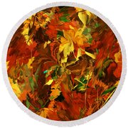 Autumn Burst Round Beach Towel