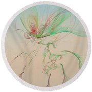 Autumn Butterfly Abstract Round Beach Towel