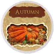 Autumn Button Round Beach Towel by Mike Savad