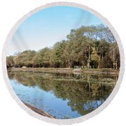 Autumn By The Erie Canal Round Beach Towel