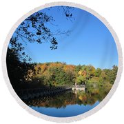 Autumn By The Lake 1 Round Beach Towel