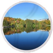 Autumn By The Lake 3 Round Beach Towel