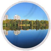 Autumn By The Triangle Lake In Stockholm Round Beach Towel