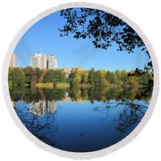 Autumn By The Lake 6 Round Beach Towel