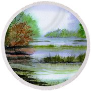 Autumn By The Lake  Round Beach Towel