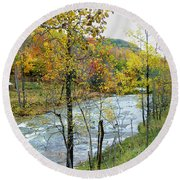 Autumn By The River Round Beach Towel
