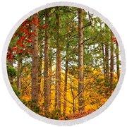 Autumn Canvas Round Beach Towel by Carol Groenen