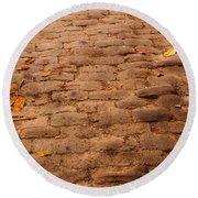 Autumn Cobble Stone Road II Round Beach Towel