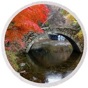 Autumn Color And Old Stone Arched Round Beach Towel