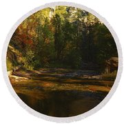 Autumn Colors By The Creek  Round Beach Towel