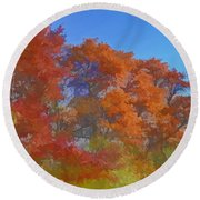 Autumn Colors I Digital Paint Round Beach Towel