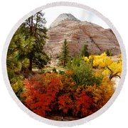 Autumn Colors In Zion's Highlands-ut Round Beach Towel