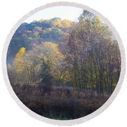 Autumn Colors Of Valley Forge Round Beach Towel by Bill Cannon