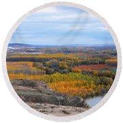 Autumn Colors On The Ebro River Round Beach Towel