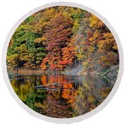 Autumn Colors Reflect Round Beach Towel