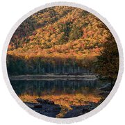 Autumn Colors Reflected In Stream Round Beach Towel